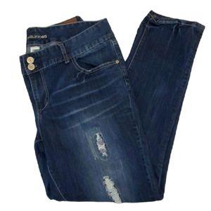 Maurices boyfriend dark wash distressed jeans 18